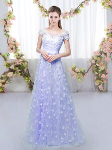 Eye-catching Lavender Lace Up Off The Shoulder Appliques Dama Dress for Quinceanera Tulle Cap Sleeves