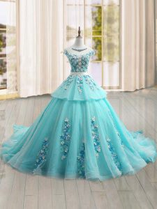 Adorable Aqua Blue Cap Sleeves Appliques Lace Up 15th Birthday Dress