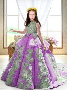 Sleeveless Appliques Backless Kids Formal Wear with Lilac Court Train