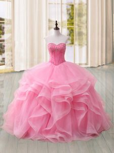 Lace Up Vestidos de Quinceanera Pink for Military Ball and Sweet 16 and Quinceanera with Beading and Ruffles Sweep Train