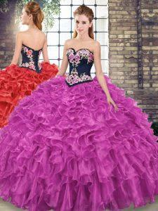 Suitable Fuchsia Sleeveless Sweep Train Embroidery and Ruffles 15 Quinceanera Dress