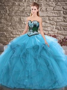 Charming Blue Ball Gowns Sweetheart Sleeveless Tulle Floor Length Lace Up Beading and Embroidery Vestidos de Quinceanera