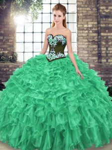 Edgy Sleeveless Organza Sweep Train Lace Up 15th Birthday Dress in Green with Embroidery and Ruffles