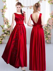 Dynamic Red Backless Vestidos de Damas Beading and Appliques Sleeveless Floor Length