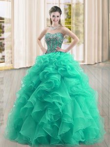 Luxurious Turquoise Ball Gowns Beading and Ruffles 15th Birthday Dress Lace Up Organza Sleeveless Floor Length