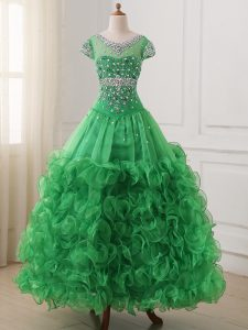 Organza V-neck Cap Sleeves Lace Up Beading and Ruffles Little Girls Pageant Dress in Green