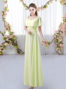 Fashionable Yellow Green Empire Chiffon Scoop Short Sleeves Appliques Floor Length Zipper Quinceanera Court of Honor Dress