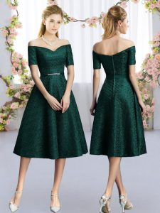 Dark Green A-line Belt Dama Dress Lace Short Sleeves Tea Length
