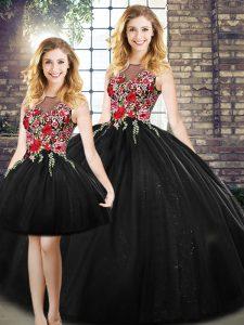 Shining Black Tulle Zipper Scoop Sleeveless Floor Length Sweet 16 Dresses Embroidery