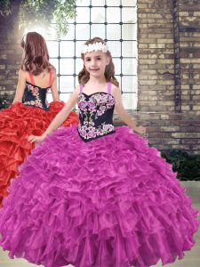 Fuchsia Ball Gowns Organza Straps Sleeveless Embroidery and Ruffled Layers Floor Length Lace Up Little Girl Pageant Gowns