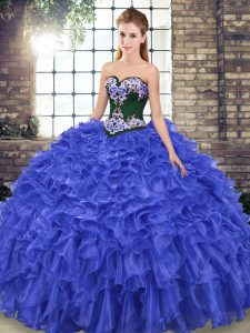 Sleeveless Embroidery and Ruffles Lace Up Quinceanera Dresses with Royal Blue Sweep Train