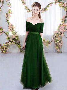 Elegant Green Short Sleeves Ruching Floor Length Dama Dress