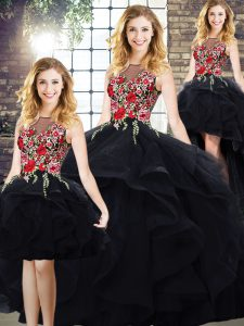 Inexpensive Floor Length Ball Gowns Sleeveless Black Vestidos de Quinceanera Lace Up