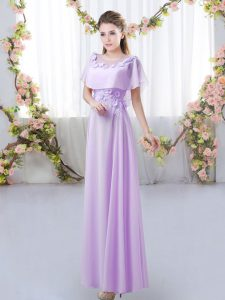 Dazzling Lavender Chiffon Zipper Damas Dress Short Sleeves Floor Length Appliques