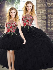 Sumptuous Black Ball Gowns Scoop Sleeveless Organza Floor Length Zipper Embroidery and Ruffles Sweet 16 Dresses