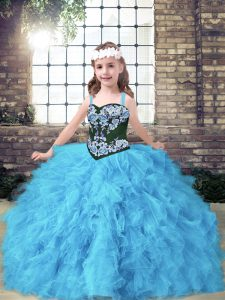 Embroidery and Ruffles Kids Formal Wear Baby Blue Lace Up Sleeveless Floor Length