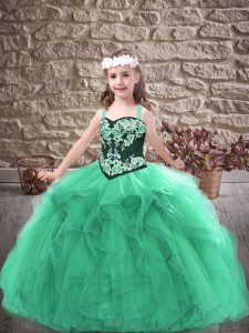 Graceful Tulle Straps Sleeveless Lace Up Embroidery and Ruffles Pageant Dress for Teens in Turquoise
