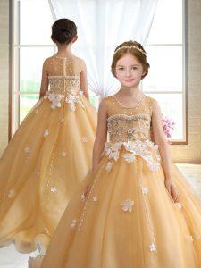 Sweet Ball Gowns Sleeveless Gold Pageant Dress Toddler Brush Train Zipper
