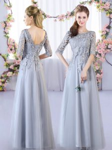 Smart Grey Scoop Lace Up Lace Damas Dress Half Sleeves