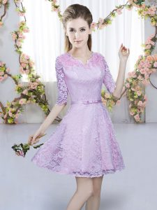 Delicate Lavender Zipper V-neck Belt Dama Dress for Quinceanera Lace Half Sleeves