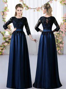 Popular Navy Blue 3 4 Length Sleeve Lace Floor Length Dama Dress