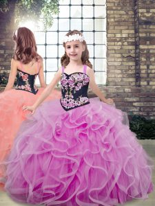 Floor Length Ball Gowns Sleeveless Lilac Little Girls Pageant Dress Wholesale Lace Up