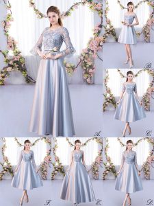 Silver Lace Up Dama Dress for Quinceanera Lace 3 4 Length Sleeve Floor Length