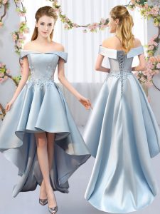 Light Blue Off The Shoulder Lace Up Appliques Quinceanera Court Dresses Sleeveless