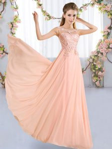 Discount Peach Empire Chiffon Scoop Sleeveless Lace Floor Length Lace Up Court Dresses for Sweet 16
