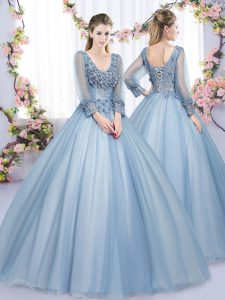 Floor Length Lace Up Quince Ball Gowns Blue for Military Ball and Sweet 16 and Quinceanera with Lace and Appliques