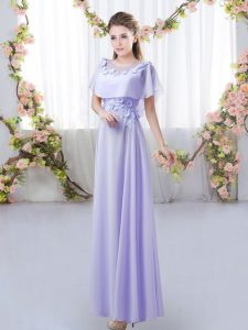 Modest Lavender Empire Appliques Dama Dress for Quinceanera Zipper Chiffon Short Sleeves Floor Length