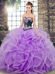 Sweetheart Sleeveless 15th Birthday Dress Sweep Train Embroidery and Ruffles Lavender Tulle
