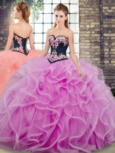 Sweetheart Sleeveless Tulle Sweet 16 Dresses Embroidery and Ruffles Sweep Train Lace Up