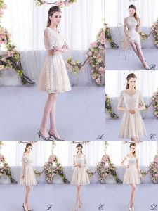 Glittering Scoop Short Sleeves Dama Dress for Quinceanera Mini Length Lace Champagne