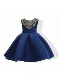 Sleeveless Appliques and Bowknot Zipper Pageant Dress for Womens