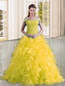 Smart Sleeveless Sweep Train Lace Up Beading and Lace and Ruffles 15th Birthday Dress