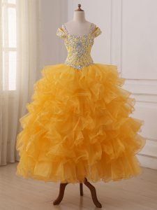 Attractive Floor Length Gold Little Girls Pageant Dress Wholesale Off The Shoulder Sleeveless Lace Up