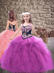 Best Sleeveless Lace Up Floor Length Embroidery and Ruffles Child Pageant Dress