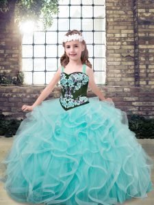 Floor Length Aqua Blue Pageant Dress Wholesale Tulle Sleeveless Embroidery and Ruffles