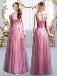Sleeveless Tulle Floor Length Lace Up Quinceanera Court of Honor Dress in Pink with Lace