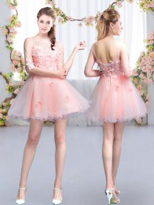 Pink Lace Up Scoop Appliques Quinceanera Court of Honor Dress Tulle Half Sleeves