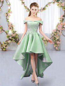 Off The Shoulder Sleeveless Lace Up Vestidos de Damas Green Satin