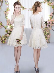 Most Popular Champagne A-line V-neck Half Sleeves Lace Mini Length Zipper Belt Dama Dress