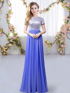 Lavender Scoop Neckline Sequins Dama Dress for Quinceanera Short Sleeves Zipper