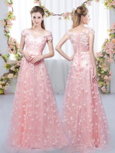 Lovely Pink Empire Tulle Off The Shoulder Cap Sleeves Appliques Floor Length Lace Up Dama Dress for Quinceanera