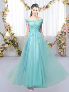 Extravagant Aqua Blue Off The Shoulder Neckline Lace Court Dresses for Sweet 16 Sleeveless Lace Up