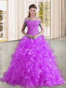 Fancy Purple Off The Shoulder Neckline Beading and Lace and Ruffles Sweet 16 Quinceanera Dress Sleeveless Lace Up