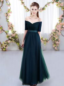 Modern Navy Blue Tulle Lace Up Damas Dress Short Sleeves Floor Length Ruching
