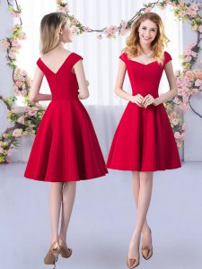 Satin Straps Cap Sleeves Zipper Ruching Dama Dress in Red
