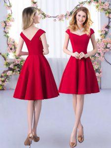 Satin Straps Cap Sleeves Zipper Ruching Dama Dress in Red
